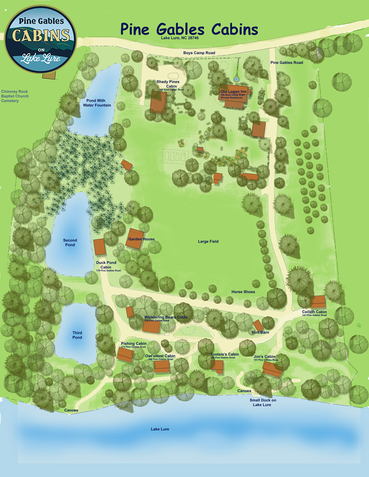 Map of Pine Gables Cabins